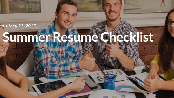 Your Summer Resume Checklist